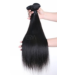 cheap -Brazilian Hair Straight Weave 3 Bundles 18inch Human Hair Weaves Machine Made Normal Natural Black Women's