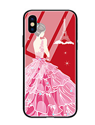 Недорогие -Кейс для Назначение Apple iPhone X iPhone 8 С узором Кейс на заднюю панель Соблазнительная девушка Твердый Закаленное стекло для iPhone X