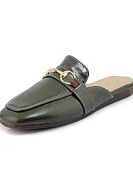 abordables -Femme Chaussures Similicuir Printemps / Eté Confort / Gladiateur Sabot & Mules Talon Bas Bout rond Noir / Jaune / Vert foncé