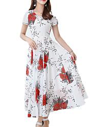 baratos -Mulheres Simples balanço Vestido - Estampado, Floral Longo