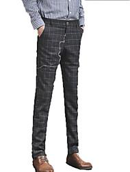 abordables -Hombre Pitillo Chinos Pantalones - A Cuadros