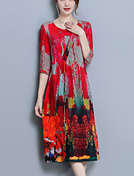 cheap -Women's Plus Size Going out Street chic Silk Loose Loose Dress - Floral Split Print