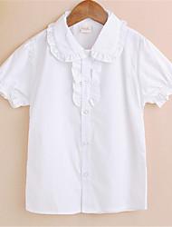 povoljno -čvrste košulje djevojčica, poliester ljetne bijele boje