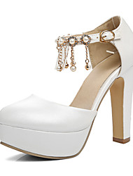 cheap -Women's Shoes Synthetic Microfiber PU Spring Fall Novelty Comfort Heels Chunky Heel Round Toe Rhinestone Pearl Buckle for Wedding Party &