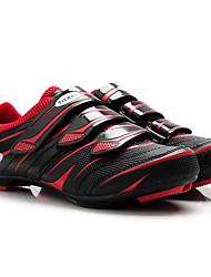 Недорогие -Tiebao® Обувь для шоссейного велосипеда Углеволокно Противозаносный Велоспорт Черный / красный Муж. Обувь для велоспорта / Дышащая сетка / Липучка