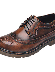 povoljno -Žene Cipele Koža Proljeće Ljeto Udobne cipele Oksfordice Ravna potpetica Zatvorena Toe za Vjenčanje Kauzalni Zabava i večer Crn Braon
