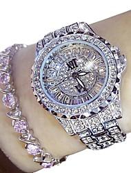 billige -Dame Kjoleur 50 m Kronograf Rustfrit stål Bånd Analog Luksus Glitrende Mode Sølv / Guld - Guld Sølv To år Batteri Levetid