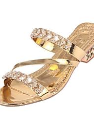 preiswerte -Damen Schuhe PU Frühling Sommer Pumps Sandalen Stöckelabsatz Spitze Zehe Strass für Normal Party & Festivität Gold Silber