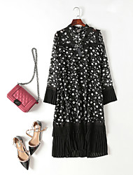 cheap -MMLJ Women's Cute Flare Sleeve Chiffon Dress - Polka Dot, Pleated
