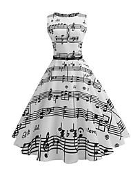 economico -Per donna Vintage Taglia piccola Linea A Vestito Fantasia geometrica Medio Bianco / Estate