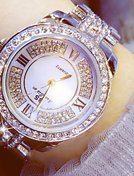 abordables -Femme Montre Habillée Chinois Chronographe / Imitation de diamant / Lumineux Acier Inoxydable Bande Luxe / Etincelant Argent / Doré