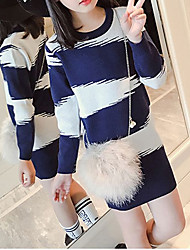 cheap -Girl's Daily Geometric Dress, Acrylic Winter Fall Long Sleeves Stripes Blue