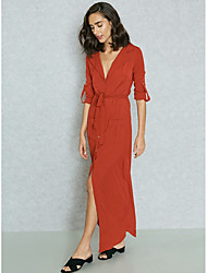cheap -Women's Sophisticated Street chic Sheath Swing Shirt Dress - Solid Colored, Backless