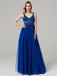 cheap -Ball Gown V Neck Floor Length Lace / Tulle See Through Prom / Formal Evening Dress with Beading / Appliques by TS Couture®