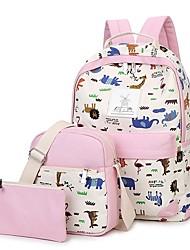 povoljno -Žene Torbe Platno Bag Setovi 3 kom Patent-zatvarač za Kauzalni Sva doba Plava Obala Crn Blushing Pink