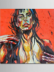 cheap -Oil Painting Hand Painted - Abstract People Modern Canvas