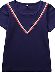 cheap -Girls' Solid Colored Striped Tee, Cotton Spring Summer Short Sleeves Active Navy Blue