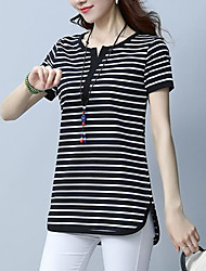 cheap -Women's Work Going out Basic Plus Size Cotton T-shirt - Striped V Neck