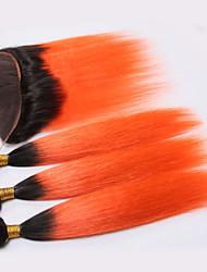 baratos -4 pacotes Cabelo Brasileiro Liso Cabelo Humano Trama do cabelo com Encerramento Laranja Tramas de cabelo humano Cabelo Ombre Extensões de cabelo humano Mulheres