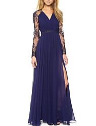 cheap -Women's Simple Cute Slim Swing Dress - Solid Colored High Waist Maxi Deep V