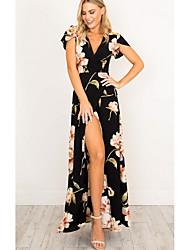 preiswerte -Damen Street Schick Hülle Kleid Blumen Maxi V-Ausschnitt Schwarz