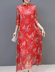cheap -Women's Basic Chinoiserie Swing Dress - Floral Geometric, Print