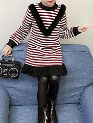 preiswerte -Mädchen T-Shirt Gestreift Baumwolle Polyester Winter Herbst Schwarz Wein