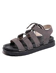 cheap -Women's Shoes PU(Polyurethane) Summer Comfort Sandals Flat Heel Round Toe Black / Gray / Khaki / Lace up