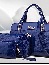 baratos -Mulheres / Unisexo Bolsas PU Leather Conjuntos de saco 3 Pcs Purse Set Tachas / Ziper Azul / Preto / Vermelho