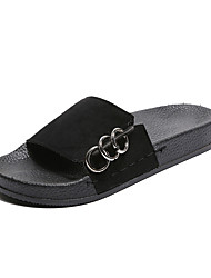 Недорогие -Жен. Обувь Полиуретан Осень Удобная обувь Тапочки и Шлепанцы Круглый носок для Повседневные Черный Верблюжий