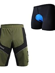 abordables -WOSAWE Hombre Pantalones Acolchados de Ciclismo Bicicleta Pantalones Cortos Acolchados / Pantalones cortos para MTB / Prendas de abajo Secado rápido, Bandas Reflectantes Retazos, Clásico Verde