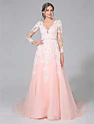 cheap -A-Line Bateau Neck Chapel Train Tulle Custom Wedding Dresses with Sequin Appliques Sash / Ribbon by LAN TING BRIDE®