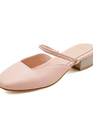 preiswerte -Damen Schuhe Kunstleder Frühling Sommer T-Riemen Cloggs & Pantoletten Golf Shoes Blockabsatz Quadratischer Zeh Schnalle für Hochzeit Büro