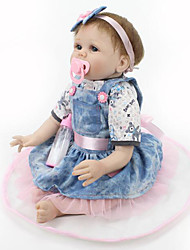 cheap -NPK DOLL Reborn Doll Baby 22 inch Silicone / Vinyl - lifelike, Hand Applied Eyelashes, Tipped and Sealed Nails Kid's Girls' Gift / CE Certified / Natural Skin Tone / Floppy Head