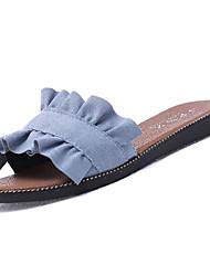 baratos -Mulheres Sapatos Camurça Verão Conforto Chinelos e flip-flops Sem Salto Ponta Redonda Preto / Bege / Azul