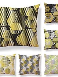 baratos -6 pçs Téxtil Algodão / Linho Fronha Cobertura de Almofada, Estampa Colorida Estampa Geométrica Estampado Estilo Artístico Alta qualidade