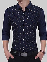 Недорогие -Муж. Рубашка Классический Горошек Синий и белый