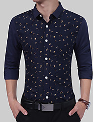 baratos -Homens Camisa Social Básico Poá Azul e Branco