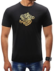 cheap -Men's Sports Basic Plus Size T-shirt - Animal Tiger, Print Round Neck / Short Sleeve