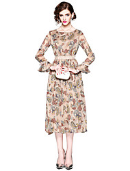 cheap -Seduction Gold House Women's Holiday Street chic Flare Sleeve Slim Sheath Dress - Floral Print
