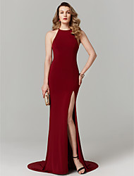 cheap -Mermaid / Trumpet Jewel Neck Sweep / Brush Train Jersey Cocktail Party / Prom / Formal Evening Dress with Split Front by TS Couture®