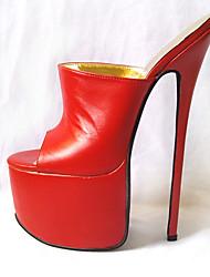 preiswerte -Damen Schuhe PU Sommer Pumps High Heels Stöckelabsatz Offene Spitze Weiß / Schwarz / Rot / Party & Festivität