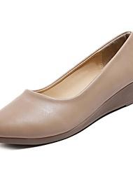 abordables -Femme Chaussures Cuir Nappa Printemps Automne Confort Ballerines Talon Plat Bout rond pour De plein air Noir Beige Kaki