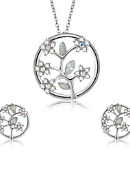 cheap -Women's Cubic Zirconia Jewelry Set - Zircon, Silver Plated Floral / Botanicals, Leaf, Flower Include Stud Earrings / Pendant Necklace Silver For Wedding / Evening Party