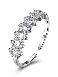 cheap -Women's Cubic Zirconia S925 Sterling Silver Cuff Ring - Circle Fashion Silver Ring For Party / Daily