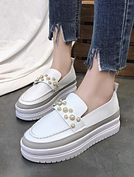 cheap -Women's Shoes PU Spring Fall Comfort Loafers & Slip-Ons Creepers for White