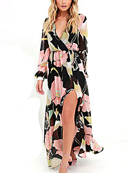 cheap -Women's Plus Size Going out / Work Street chic / Punk & Gothic Slim Sheath / Chiffon Dress - Floral Maxi V Neck / Summer / Fall