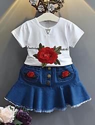 Недорогие -Дети (1-4 лет) Девочки Повседневные Школа Цветочный принт С короткими рукавами Обычный Набор одежды Белый / Очаровательный