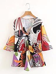 cheap -Women's Cotton Blouse - Floral V Neck / Silk