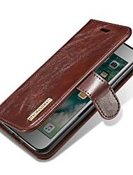 Недорогие -Кейс для Назначение Apple iPhone X iPhone 8 Бумажник для карт Флип Магнитный Чехол Однотонный Твердый Настоящая кожа для iPhone X iPhone